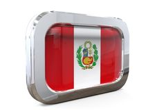 3D illustratie van Peru Button Flag Stock Afbeelding