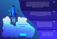3D illustratie van raket met infographic elementen en ultraviolette stralen voor Opstarten van bedrijvenconcept vector illustratie