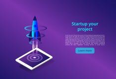 3D illustratie van raket met infographic elementen en ultraviolette stralen voor Opstarten van bedrijvenconceptontwerp royalty-vrije illustratie