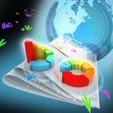3d illustratie van rings kleurrijke bedrijfsgrafiek Stock Foto's