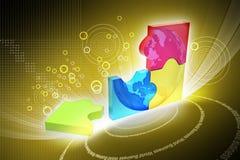 3d illustratie van rings kleurrijke bedrijfsgrafiek Royalty-vrije Stock Foto's