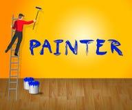 3d Illustratie van Shows House Painting van de huisschilder Royalty-vrije Stock Afbeeldingen