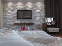 3d illustratie van slaapkamers in bruine kleur Royalty-vrije Stock Foto's