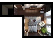 3d illustratie van slaapkamers in bruine kleur Royalty-vrije Stock Afbeeldingen