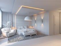 3d illustratie van slaapkamers in bruine kleur Stock Foto's