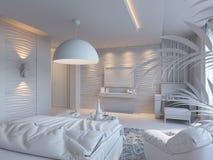 3d illustratie van slaapkamers in bruine kleur Stock Afbeelding