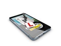 3d Illustratie van Smartphone met toestelverschuiving, de Online bestuurder van de registerschool Stock Afbeelding