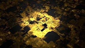3d illustratie van technologische oppervlakte, gouden en zwarte versie Stock Fotografie