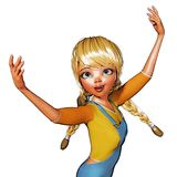 3D Illustratie van Toon Girl Royalty-vrije Stock Afbeelding