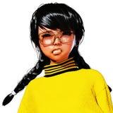 3D Illustratie van Toon Girl Stock Foto