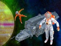 3D Illustratie van twee vrouwenastronauten die in ruimte werken royalty-vrije illustratie