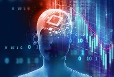 3d illustratie van virtuele mens op technologieachtergrond Royalty-vrije Stock Foto