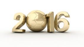 3d illustratie van 2016 & voetbal Stock Foto