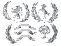 3D illustratie van wapenkunde Een reeks voorwerpen De zilveren olijf vertakt zich, eiken takken, kronen, leeuw, paard, boom vector illustratie