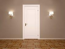 3d illustratie van witte gesloten deur met twee lampen vector illustratie