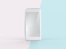 3D Illustratie van Witte Mobiele Telefoon op Eenvoudige Pastelkleur Roze Munt Royalty-vrije Stock Foto's