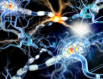 3d illustratie van zenuwcellen Royalty-vrije Stock Afbeeldingen