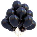 3D illustratie van zwarte de partijdecoratie van de ballonsverjaardag Stock Foto's
