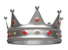 3D illustratie, zilveren kroon die op wit wordt geïsoleerd royalty-vrije illustratie