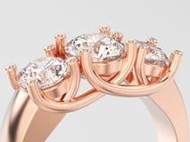 3D illustratieclose-up nam de gouden ring van drie steendiamanten toe Royalty-vrije Stock Afbeelding