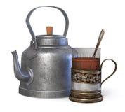 3d illustratieglas thee in een Kophouder met een ketel Royalty-vrije Stock Foto's