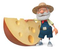 3d illustratielandbouwer met een brok van kaas Royalty-vrije Stock Foto's