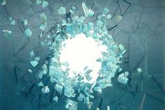 3D illustratiemuur van ijs met een gat in het centrum van verbrijzelen in reepjes Plaats voor uw banner Stock Afbeeldingen