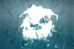 3D illustratiemuur van ijs met een gat in het centrum van verbrijzelen in reepjes Plaats voor uw banner Stock Fotografie