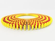 3D Illustratievlag van Catalonië van kleine mensen wordt gemaakt die in cirkel lopen die Stock Fotografie