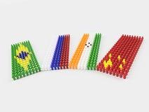 3D Illustratievlaggen van BRIC-landen Royalty-vrije Stock Afbeelding