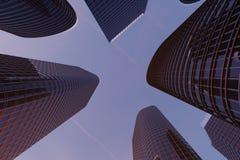 3D Illustratiewolkenkrabbers van een lage hoekmening De hoge gebouwen van het architectuurglas Wolkenkrabbers in een financiëndis royalty-vrije illustratie