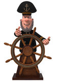 3d illustratiezeekapitein met het wiel Royalty-vrije Stock Afbeeldingen