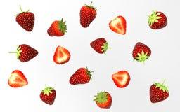 3d Illustratiion Collecion av stawberries som isoleras på smaklig vit bakgrund Arkivfoto