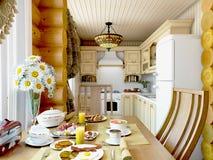 3d Illustration Ñ  ozy Küche im Haus der Karkasse Lizenzfreie Stockfotos