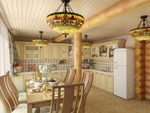 3d Illustration Ñ  ozy Küche im Haus der Karkasse Stockbild