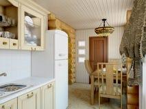 3d Illustration Ñ  ozy Küche im Haus der Karkasse Lizenzfreies Stockfoto