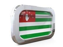 Abkhazia Flag button 3D Illustration. 3D Illustration Abkhazia Flag button metallic look Stock Photography