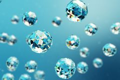 3D illustration abstract background of chaotic low poly spheres consisting of gem or diamond. Particle in dusty space. Futuristic background with depth of Royalty Free Stock Images