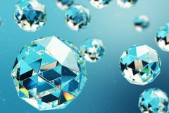 3D illustration abstract background of chaotic low poly spheres consisting of gem or diamond. Particle in dusty space. Futuristic background with depth of Stock Photo