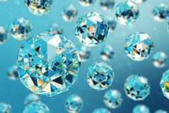 3D illustration abstract background of chaotic low poly spheres consisting of gem or diamond. Particle in dusty space. Futuristic background with depth of Royalty Free Stock Photography