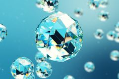 3D illustration abstract background of chaotic low poly spheres consisting of gem or diamond. Particle in dusty space. Futuristic background with depth of Royalty Free Stock Photo