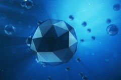 3D illustration abstract background of chaotic low poly spheres. Particle in dusty space. Blue futuristic background. With depth of field effect, bokeh and Royalty Free Stock Image