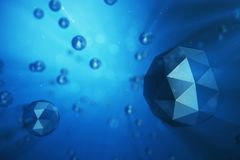 3D illustration abstract background of chaotic low poly spheres. Particle in dusty space. Blue futuristic background. With depth of field effect, bokeh and Royalty Free Stock Photo