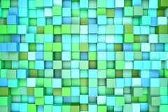 3d illustration: abstract background, colored blocks green - blue color. Range of shades. Wall of cubes. Pixels art. 3d illustration: abstract background Stock Photos
