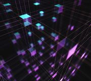 Abstract Background Interconnected Cubes. 3D illustration, abstract background of cubes and interconnected lines representing technological connections Stock Photos