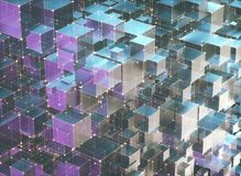 Abstract Background Interconnected Cubes. 3D illustration, abstract background of cubes and interconnected lines representing technological connections Royalty Free Stock Photography