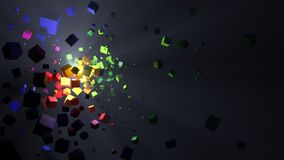 Abstract colorful cubes explosion background. 3d illustration. Abstract background of an explosion of colorful cubes with light flash and rays. Small depth of Royalty Free Stock Image