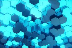3D illustration Abstract blue of futuristic surface hexagon pattern with light rays. Blue tint hexagonal background. 3D illustration Abstract blue of futuristic Royalty Free Stock Photography