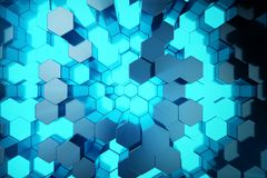 3D illustration Abstract blue of futuristic surface hexagon pattern with light rays. Blue tint hexagonal background. 3D illustration Abstract blue of futuristic Royalty Free Stock Photos