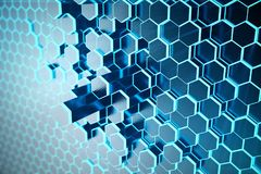 3D illustration Abstract blue of futuristic surface hexagon pattern with light rays. Blue tint hexagonal background. 3D illustration Abstract blue of futuristic Stock Photo